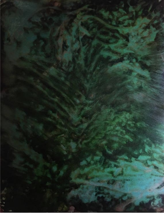 """Original Alcohol Ink Abstract Painting: """"Night Jungle"""" (11"""" X 14"""")"""