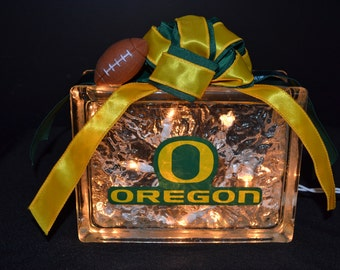 OREGON DUCKS Lighted Glass Block Nightlight & Decor