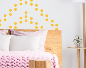 Bedroom Wall Pattern. 72 Yellow Stickers. DIY Wall decoration. Vinyl Wall Sticker. Polka Dot decals. Hello dots! Under 50 Gift Ideas.