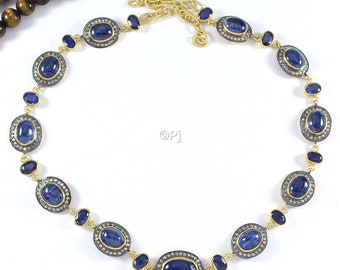 Kyanite and Sapphire Diamond Necklace With Lobster, Victorian Rose Cut Diamond Jewelry, 925 Sterling Silver, Gift For Her, Free Shipping
