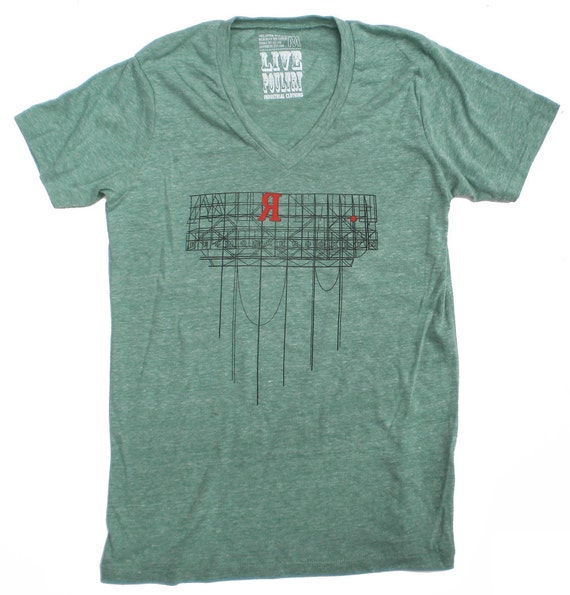 Brooklyn T-Shirt in Vneck Heather Green, Red Hook, Brooklyn Industrial Sign