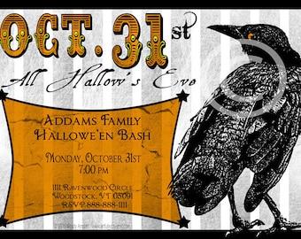 Invitations,Halloween,5x7, Printable, Halloween Invite, Halloween Party, Halloween Printable, Halloween, Black, Orange, Raven, Hallow's Eve