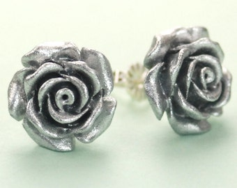 Vintage Silver Color Rose Button Post Earrings