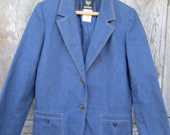 70s/80s Blue Denim Blazer w/ 3/4 Sleeves by Pantter, Women's M // Vintage Single-Breasted Jacket