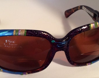 """Hand Painted Bifocal Sunglasses """"Grande Verde Plums"""". Each are unique,colorful and made just for you ! most strengths available."""