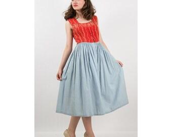 1930s Dress / Vintage LANZ traditional Trachten dress / Cotton drindl S