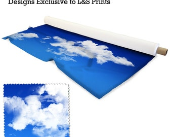 Blue Sky Clouds Design Fabric 2 way stretch Lycra  / Spandex / Satin / Chiffon / Jersey / Voile / Waterproof / Microfibre / Twill / Eyelet
