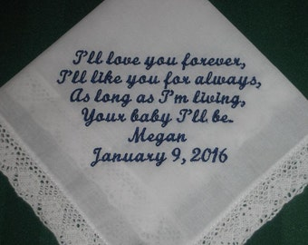 Mother of the Bride Handkerchief  - Wedding Handkerchief Gift- Parents - Mom of the bride - Wedding - Something Blue, 36S