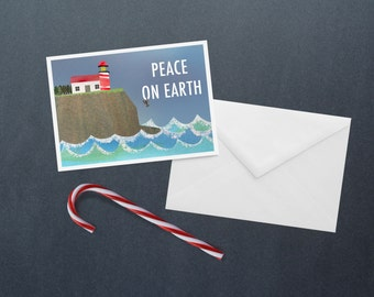 Lighthouse Peace on Earth - Holiday Cards / Christmas Cards - 10 Pack