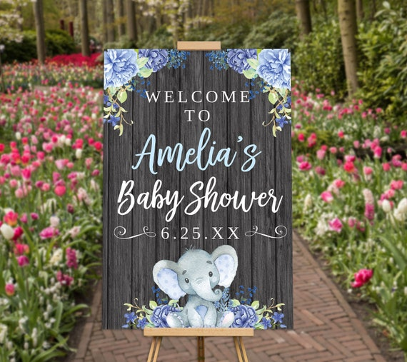 Blue Boy Elephant Baby Shower Decorations,  Baby Shower Welcome Sign, Baby Shower Banner, Baby Shower Printables, Baby Shower Decor Poster