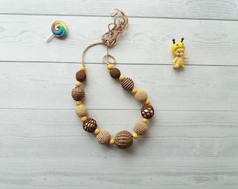 Crochet teething necklace, crochet wooden teething necklace, teething necklace, nursing necklace,  baby nursing necklace, baby shower gift