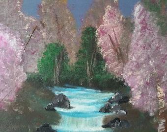 Pink tree acrylic painting