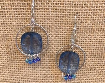 Blue Hoop Dangle Earrings