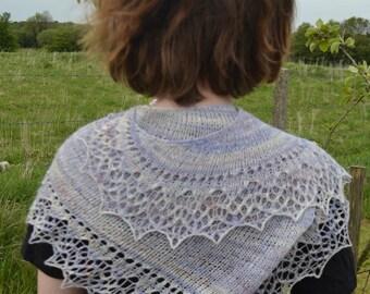Handspun Handknit Asymmetrical Lace Shawl Shawlette