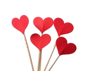 24 Red Heart Cupcake Toppers, Valentine's Day Party Decorations - No324