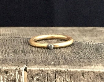 Simple Band Stackable Brass Ring with Sterling Silver Bead, Oxidized, Hammered