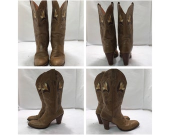 Vintage 80's Dan Post Stacked Heel Floral Cowgirl Boots sz: 8 Narrow