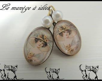 Earrings / Stud Earrings / Cabochons/bronze Metal, yesteryear, romantic woman.