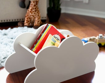 Cloud Book Caddy for Kids Room Baby Nursery Decor Cloud Bookcase Book Shelf - Decorations for Bedroom Artwork Clouds (Item - CLB200)