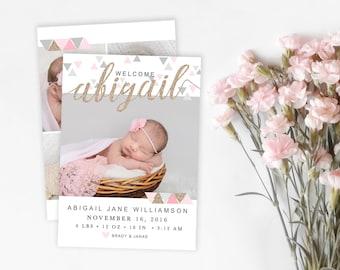 Girl Birth Announcement Template - Newborn Announcement - Girl Birth Announcement - Newborn Template for Photoshop - Photographer Template