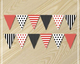 Pirate Party - Bunting Banner - Paper Bunting Flags - Printables