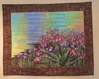 Floral Landscape Quilt   Wild Iris along the shoreline