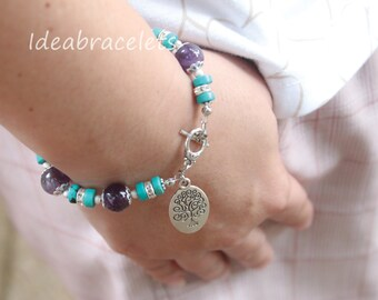 Amethyst Turquoise Gemstone Silver Bracelet, Tree of Life Silver Pendant, Birthstone Women's Jewelry, Birthday Handmade Jewelry For Her