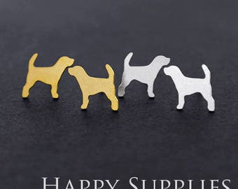 Nickel Free - High Quality Dog Dual-used Golden / Silver Brass Earring Post Finding with Ear Stud Stopper (ZEN131)