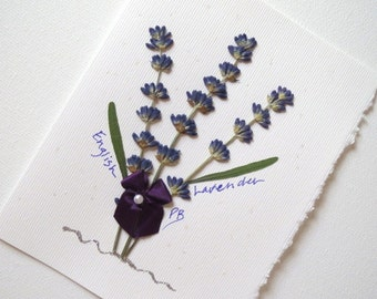Pressed Flowers - Lavender - Greeting Card, Purple Flower,  All Occasion Greeting Card. Perfect for Wedding or Lavender Lovers
