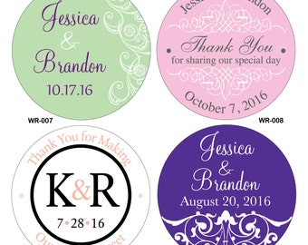 64 - 3 inch Custom Glossy Waterproof Wedding Stickers Labels - hundreds of designs to choose from - change designs to any color or wording