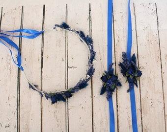 Flower wedding set: wreath and wristbands 2x