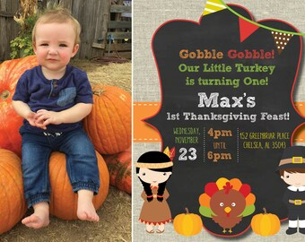 Thanksgiving Birthday Invitation; Printable Digital File