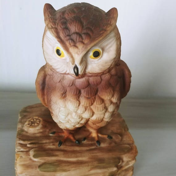 Vintage Owl Figurine Music Box By Gorham Musical Made In Japan