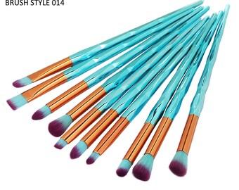 10 Piece Metallic Teal Makeup Eyeshadow Brushes Style 014