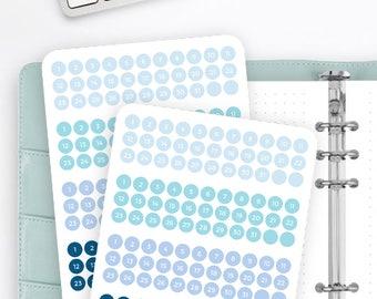 F55 | Mini Date Dots | Number Stickers | Calendar Stickers | Planner Stickers | Bullet Journal Stickers