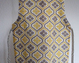 CLEARANCE - Yellow and Grey Chevron Adjustable Children's Apron