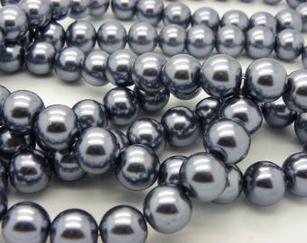 50 black glass beads Black Pearl 8 mm mother of pearls mother of Pearl gunmetal