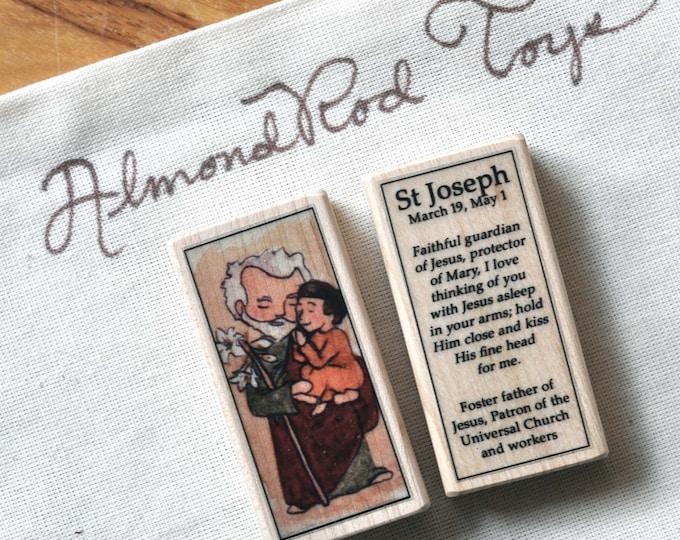 St Joseph Patron Saint Block // Catholic toy
