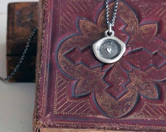 Heart Wax Seal Necklace - My heart is yours - 329