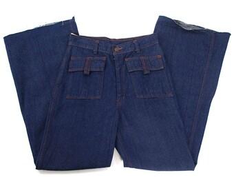 """70s Bell Bottom Jeans Vintage 1970s Denim Flares High Waist Hip Patch Pockets Dark Wash """"Daddy's Money"""" Bellbottoms Super Soft 28"""" x 30.75"""""""