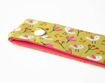 Double Pointed Needle Holder, DPN Cosy 8 Inch - Citron Birds Pink