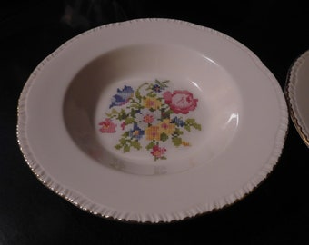 Two HOMER LAUGHLIN PETIPOINT Cross Stitch Floral Deep Rimmed Soup Bowl