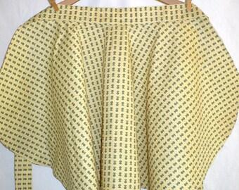Vintage Half Apron,Pears, 1960's, gold, cotton, small print, retro apron