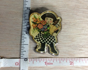Vintage Meinn 925 Sterling Silver 9.8g Shopping Girl Pin Brooch Mexico Used