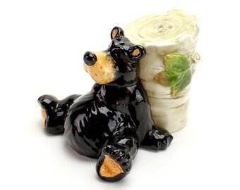 Vintage Bear Salt and Pepper Shakers, Black Bear, Bear with Tree Stump, Shaker Set, Teddy Bear, Fit Together, Tired Bear Shaker Set, Epsteam