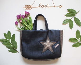 Navy Blue leatherette tote bag / Taupe