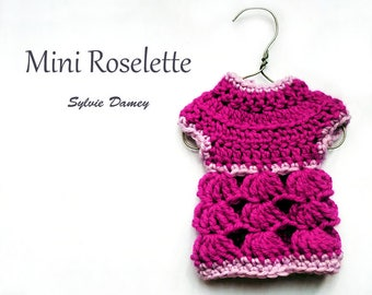 Mini Roselette - EASY beginners Crochet pattern PDF - Miniature doll sweater