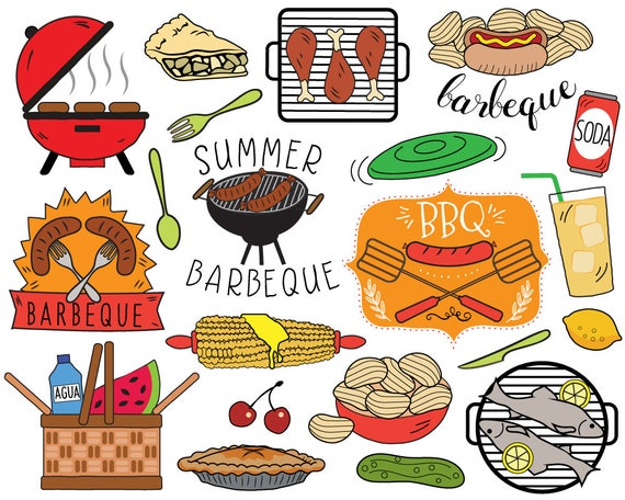 bbq clipart summer barbecue clipart picnic clip art bbq rh etsy com barbeque clip art food inviting you to barbeque clip art food inviting you to