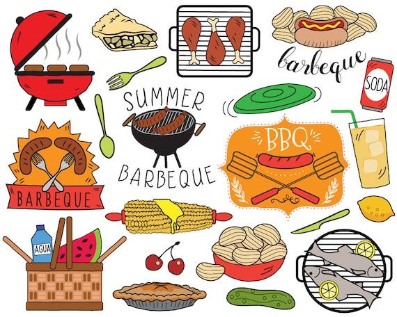 bbq clipart summer barbecue clipart picnic clip art bbq rh etsy com barbecue clipart images barbecue clip art free