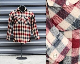 Small, Woolrich, Wool Shirt, Long Sleeve Shirt, Outdoors Shirt, Button Up Shirt, Red Plaid Shirt, Blue Plaid Shirt, Camping Shirt, USA
